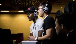 Sacramento, CA, USA – March 26, 2016: Darryl Snake Eyez Lewis of Red Bull eSports versus Brian BJunchained Jeon in Street Fighter V match on March 26, 2016 at NCR NorCal Regionals fighting game tournament.
